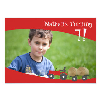 Red Tractor Photo Invitation