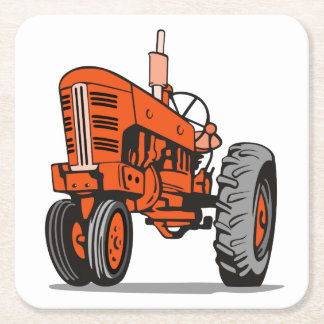 RED TRACTOR SQUARE PAPER COASTER