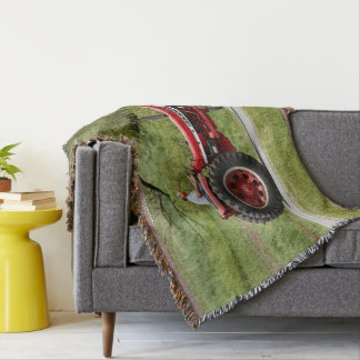 Red Tractor Throw Blanket