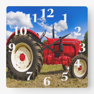 Red Tractor Wall Clock