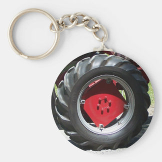 red tractor wheel key ring