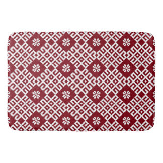 Red traditional Baltic Latvian Pattern Bath Mat