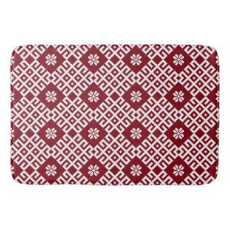 Red traditional Baltic Latvian Pattern Bath Mats