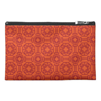 Red Traditional Geometric Chinese Pattern Travel Accessories Bags