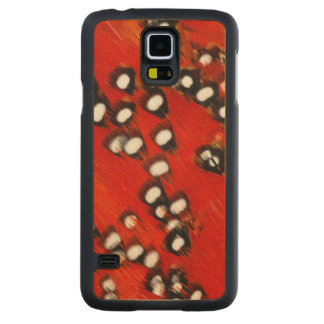 Red Tragopan Feather Abstract Carved Maple Galaxy S5 Case