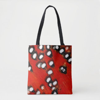 Red Tragopan Feather Abstract Tote Bag