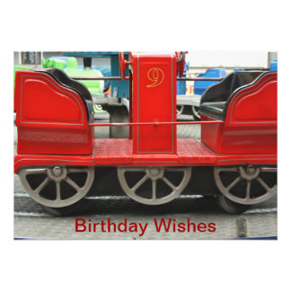 Red Train Carriage Birthday Wishes Card Custom Invite