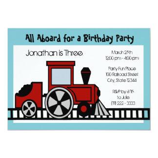 Red Train Engine Birthday Party 13 Cm X 18 Cm Invitation Card