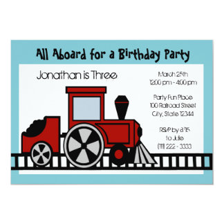 Red Train Engine Birthday Party Card