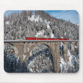 Red Train Pine Snow Covered Mountains Switzerland Mouse Mat