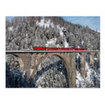 Red Train Pine Snow Covered Mountains Switzerland Postcards