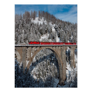 Red Train Pine Snow Covered Mountains Switzerland Poster