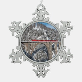 Red Train Pine Snow Covered Mountains Switzerland Snowflake Pewter Christmas Ornament