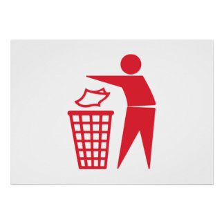 Red Trash Can Sign Print