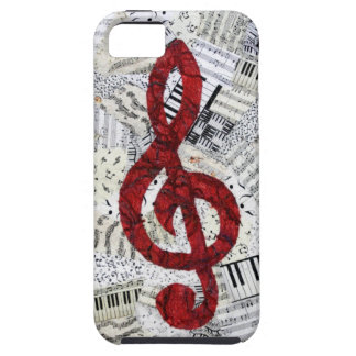 Red Treble Clef iphone 5 vibe iPhone 5 Covers