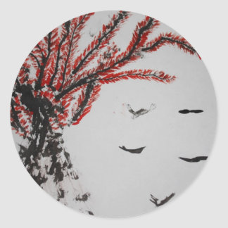 Red Tree and Birds Round Stickers