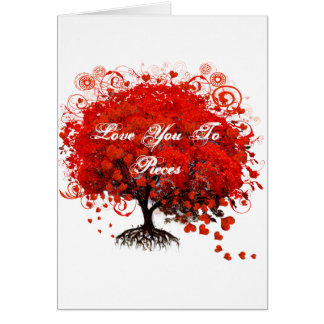 Red Tree Heart & Swirls Love Card