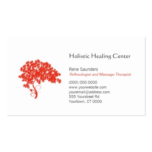 Red Tree Holistic and Natural Healing Business Card Templates