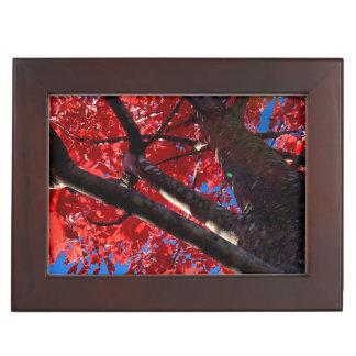 Red Tree in Autumn Keepsake Boxes