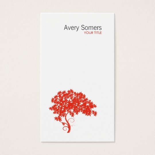 Red Tree Logo Simple White Business Card