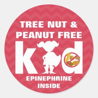 Red Tree Nut Peanut Free Kid Epinephrine Girl Classic Round Sticker