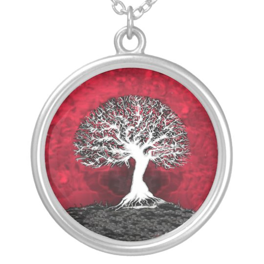 Red Tree of Life Pendant Jewellery Necklace