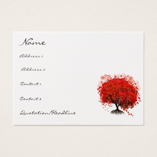 Red Tree Roots Swirls Hearts Business Card