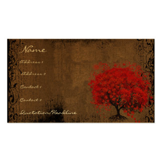 Red Tree Roots Swirls Hearts Business Cards