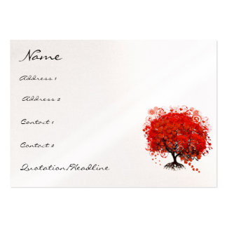 Red Tree Roots Swirls Hearts with Birds Business Cards
