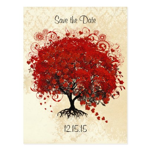 Red Tree Wedding Save The Date Postcard
