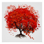 Red Tree With Hearts Leaves Falling Poster
