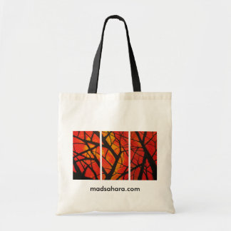 Red Trees Triptych Tote Budget Tote Bag