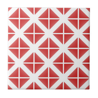Red Trendy Triangle Pattern Small Square Tile