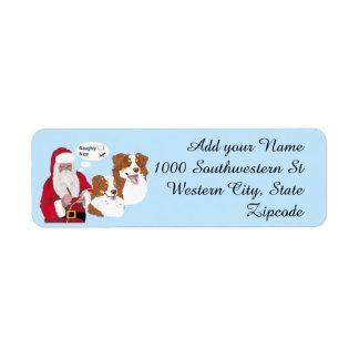 Red Tri Aussies w/ Santa Claus Naughty or Nice Return Address Label