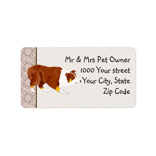 Red Tri Australian Stockdog Custom Address Label