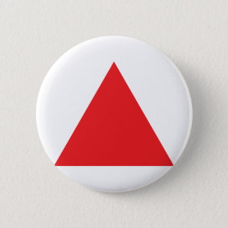 red triangle icon 6 cm round badge