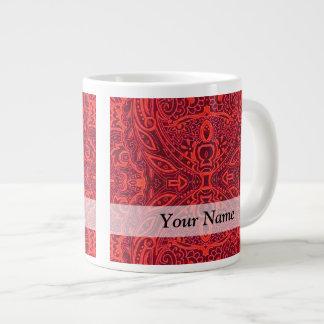 Red tribal damask pattern jumbo mugs