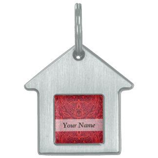 Red tribal damask pattern pet tag