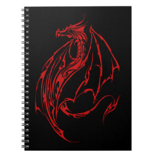 Red Tribal Dragon Notebooks