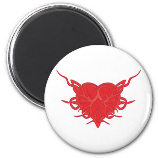 Red Tribal Heart 6 Cm Round Magnet