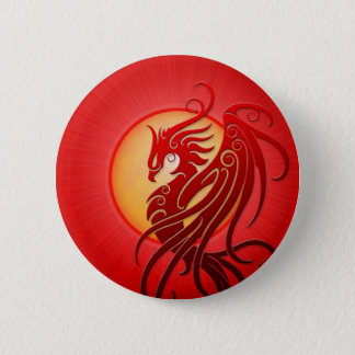 Red Tribal Phoenix 6 Cm Round Badge