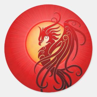 Red Tribal Phoenix Round Sticker