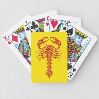 Red Tribal Scorpion on Yellow Poker Deck