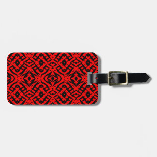 Red tribal shapes pattern luggage tag