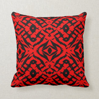 Red tribal shapes pattern throw pillow
