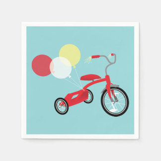 Red Tricycle Graphic Disposable Napkins