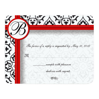 Red Trim Black and White Damask 11 Cm X 14 Cm Invitation Card