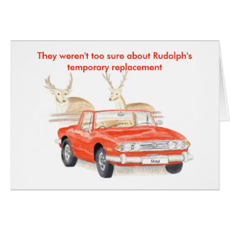 Red Triumph Stag Christmas card