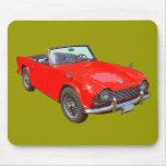 Red Triumph Tr4 Convertible Sports Car Mousepad