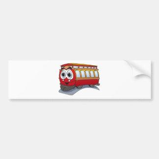 Red Trolley Cartoon Bumper Sticker
